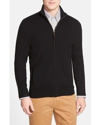 John W. Nordstrom Full Zip Cashmere Sweater With Faux Suede Elbow Patches