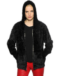 Furry knit zip up sweater medium 637794