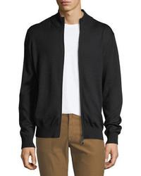 Neiman Marcus Merino Wool Silk Zip Front Cardigan