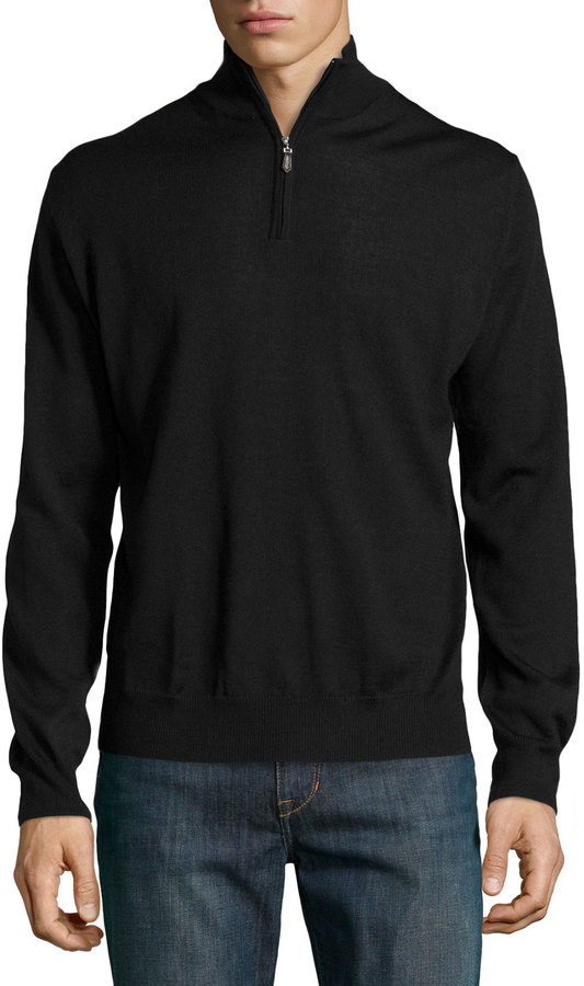 Neiman Marcus Mock Turtleneck Half Zip Sweater Black | Where to ...