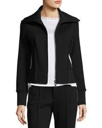 Moncler Stretch Jersey Zip Front Cardigan Black