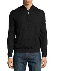 Robert Graham Walkenfuss Cashmere Blend Quarter Zip Pullover Black