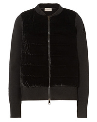 Moncler Wool And Cashmere Blend And Quilted Velvet Cardigan