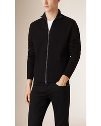 Burberry Zip Front Wool Blend Cardigan
