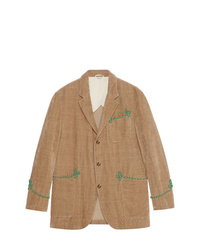 Blazer bordado marrón claro de Gucci