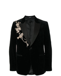 Blazer Bordado Negro de Alexander McQueen