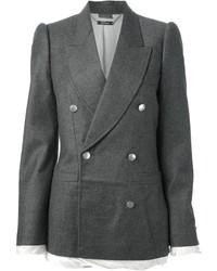 Blazer croisé en laine gris foncé Alexander McQueen
