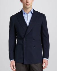 Blazer cruzado de lana azul marino de Ermenegildo Zegna