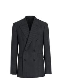 Blazer cruzado de lana de rayas verticales en gris oscuro de Burberry