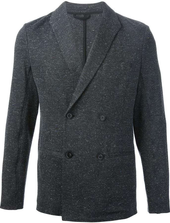 Blazer cruzado de lana en gris oscuro de Ermenegildo Zegna