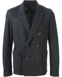 Blazer cruzado de lana en gris oscuro de Lanvin