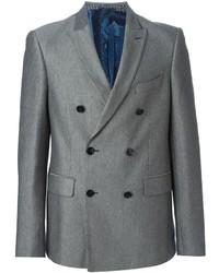 Blazer cruzado de lana gris de Etro