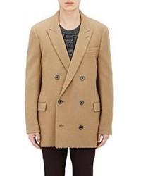 Blazer cruzado de lana marrón claro