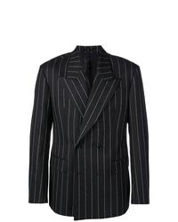 Blazer cruzado de rayas verticales negro de Versace