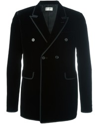 Blazer cruzado de seda negro de Saint Laurent