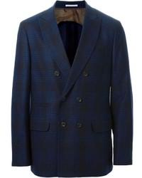Blazer Cruzado de Tartán Azul de Brunello Cucinelli