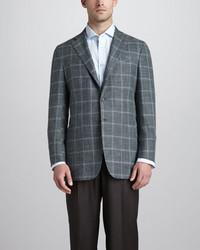 Blazer de lana a cuadros en gris oscuro de Kiton