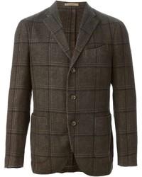 Blazer de lana a cuadros en marrón oscuro