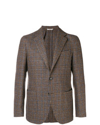Blazer de lana a cuadros marrón de Borrelli