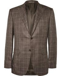 Blazer de lana a cuadros marrón de Canali