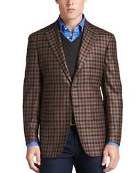 Blazer de lana a cuadros marrón de Kiton