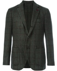Blazer de lana a cuadros verde oscuro de Lardini