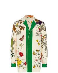 Blazer de lana con print de flores en beige de Gucci