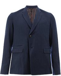 Blazer de lana de rayas verticales azul marino de Miharayasuhiro