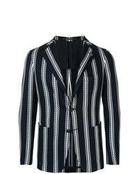 Blazer de lana de rayas verticales azul marino de Tagliatore