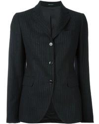 Blazer de lana de rayas verticales en gris oscuro
