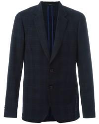 Blazer de lana de tartán azul marino de Paul Smith