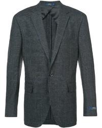 Blazer de lana de tartán en gris oscuro de Polo Ralph Lauren
