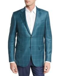 Blazer de lana de tartán en verde azulado