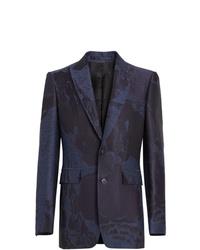 Blazer de lana estampado azul marino de Burberry