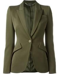 Blazer de lana verde oliva