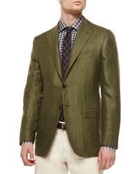 Blazer de lana verde oliva de Kiton