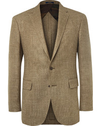Blazer de lino a cuadros marrón de Polo Ralph Lauren