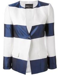 Blazer de rayas horizontales en blanco y azul marino de Emporio Armani