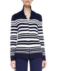 Blazer de rayas horizontales en blanco y azul marino de Neiman Marcus