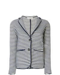 Blazer de rayas horizontales en blanco y azul marino de Zanone