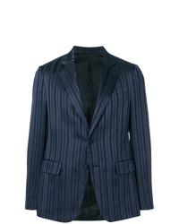 Blazer de rayas verticales azul marino de Versace