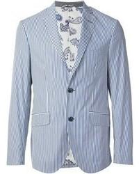 Blazer de rayas verticales en blanco y azul