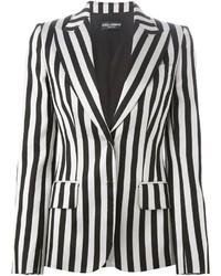 Blazer de rayas verticales en blanco y negro