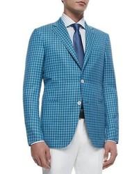 Blazer de seda a cuadros azul de Ermenegildo Zegna
