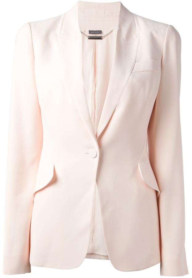 Blazer de seda rosado de Alexander McQueen
