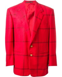 Blazer de Tartán Rojo de Versace