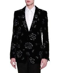 Blazer de Terciopelo con print de flores Negro de Alexander McQueen
