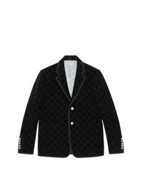 Blazer de terciopelo estampado negro de Gucci