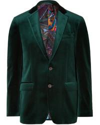 Blazer de terciopelo verde oscuro