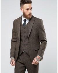 Blazer de tweed de espiguilla marrón